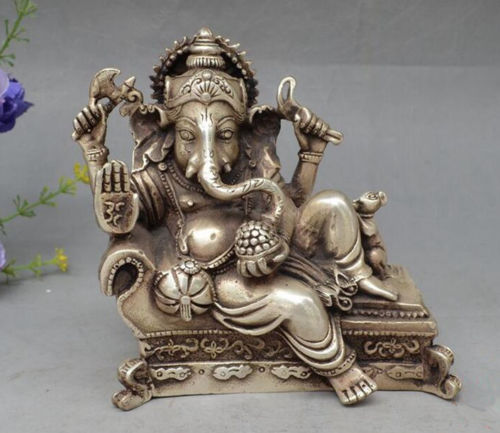 Chinese Old Handwork Tibetan Silver Wealth God Recline Statue