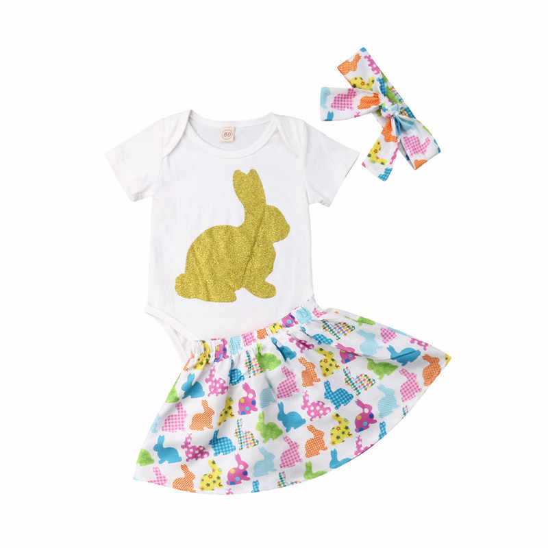 c3bc372eb5131 Adorable Baby Girl Easter Outfit Short Sleeve Sequins Bunny Romper+Toddler  High Waist Tutu Skirt