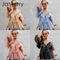 Jamerry Vintage Sexy Boho Mesh Blouse Women Casual Firm Sleeves Elegant Tops Summer Lace Up Ladies Blouses 2019