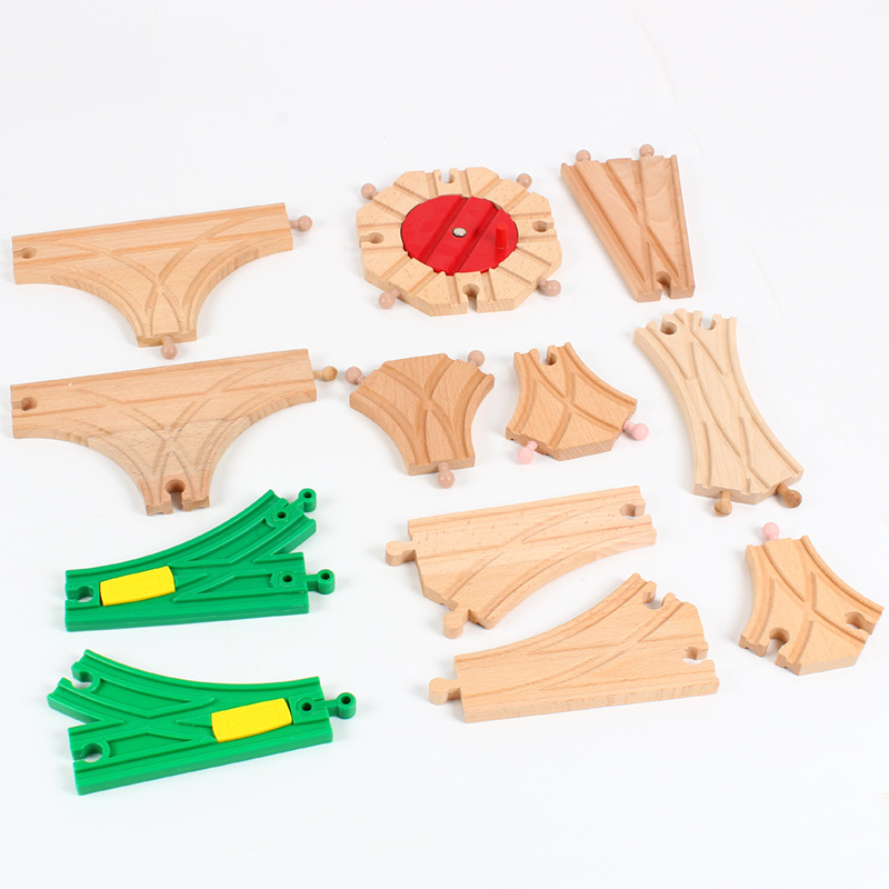 DIY Wooden Railway Track Toy Universal Accessories Competible For Thoman Track Educational Rail Train Toys For Children Gifts