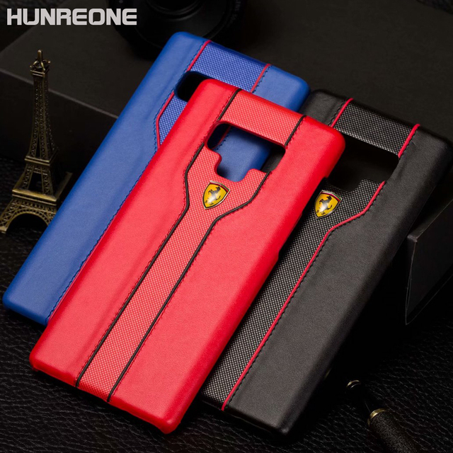 low priced 2e5f5 84579 US $4.37 5% OFF|Hunreone Ferrari Logo PU Leather Cover Protection Case For  Samsung S6 S6 Edge S7 S7 Edge For Samsung S8 S8 Plus Note 8 Note 9-in ...