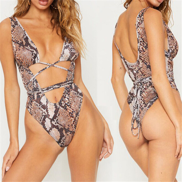 2019 New One-Piece Swimsuit Sexy Leopard Printed Bandage Bikini Monokini Women's Swimwear Beach Holiday Bathing Suit Beachwear