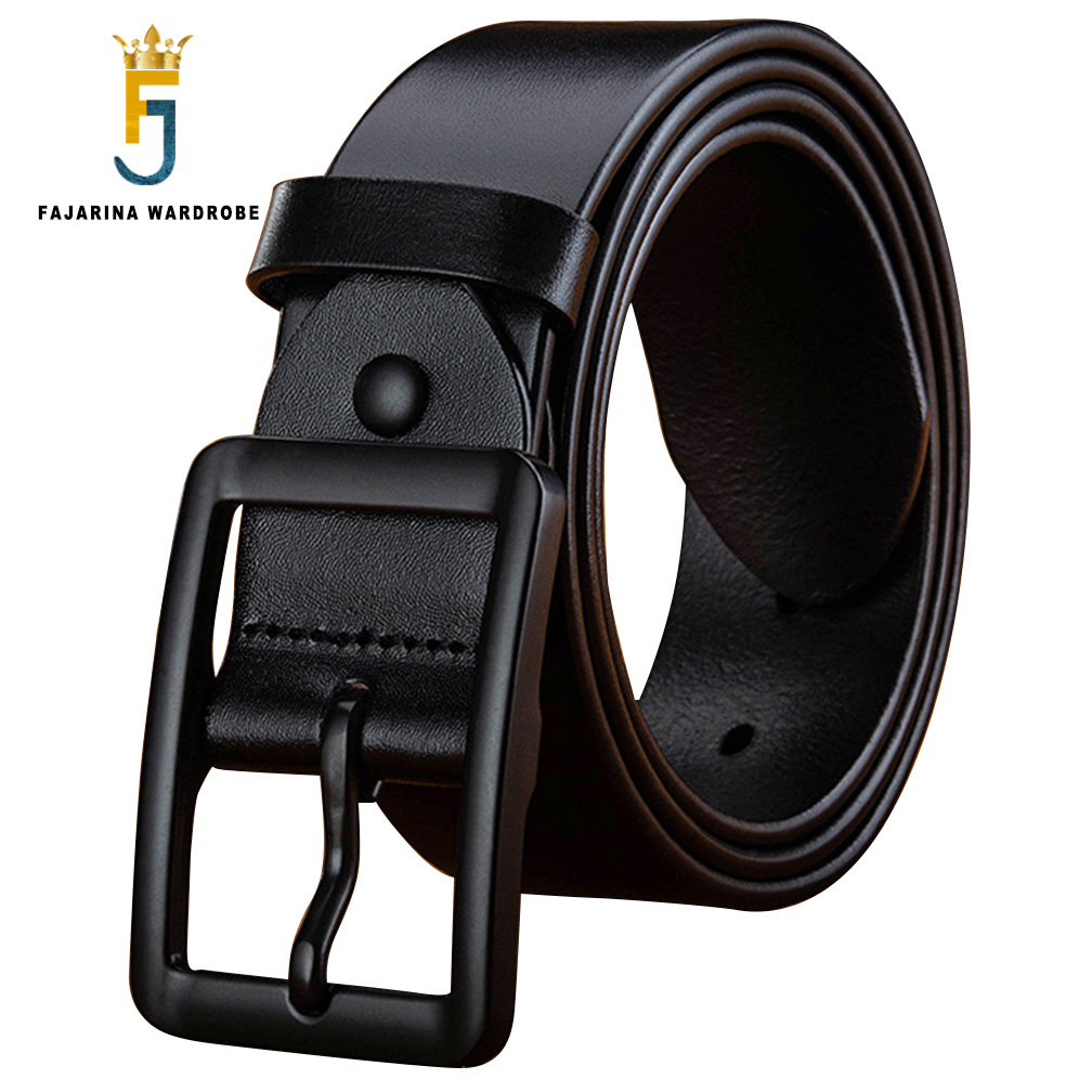 FAJARINA Top Quality 100 Pure Genuine Leather Retro Black Alloy Geometry Pin Buckle Belts Men 3