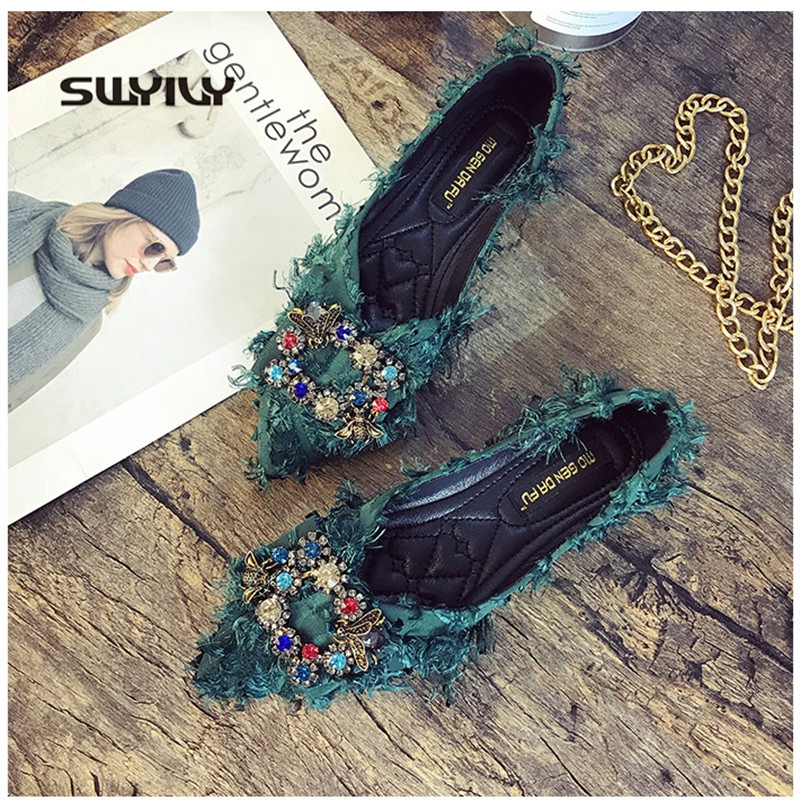SWYIVY Women Flats Shoes Bow Rhinestone Casual Shoes Female 2019 Spring Pointed Closed Toe Flats Slip On Women Shoes Size 41