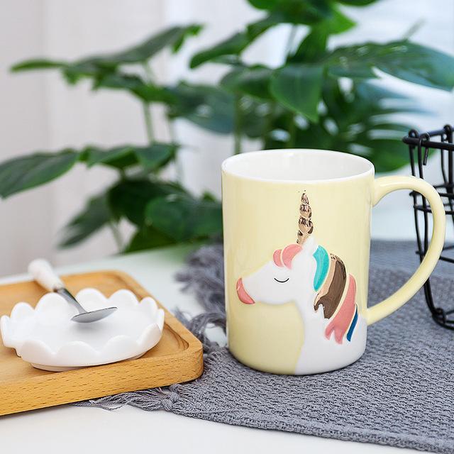 3D Unicorn Printed Tea Mug with Spoon