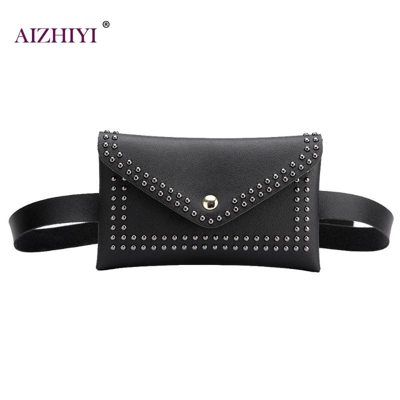 Waist Bag Female Belt Pack New Brand Fashion Rivet Chest Handbag Ladies Samll Waist Pack Belly Bags Purse PU Leather 2019 new image