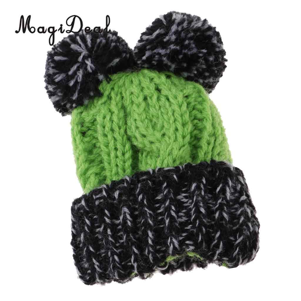 Cute Christmas Party Clothing Accessory - Hand Knitted Woolen Beanie Hat Ski Cap For  Girl Dolls Xmas Dress-up