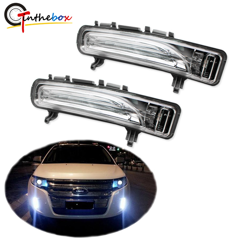 Gtinthebox OEM Fit Weiß/Bernstein Switch <font><b>LED</b></font> Tagfahrlicht w/Blinker Lichter Exact Fit Für 2011 -2014 Ford Rand 12 v image