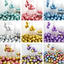 Оптовая продажа, 50 штук, хромовые, золотые воздушные шары, металлические воздушные шары, плотные металлические шары с жемчужным блеском, украшения для свадьбы, шары металлических оттенков, 10 дюймов, 1,8 г