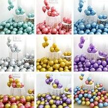 Bolas metálicas para decoração, 50 peças de balões metálicos, cromados e dourados, de metal, grosso, 1.8g