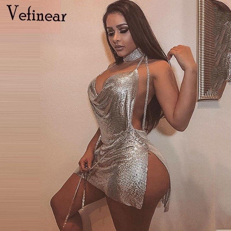 Profonde Mini En gold Dos Parti Vefinear Robes Robe V Discothèque Sexy Cou Strass Bling Plage silver Brillant Nu Femmes Black OOwv4U