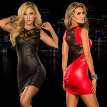 Womens Sexy Tight-fitting Mini Dress Lace Sheath Backless Dresses Clubwear  Fashion Faux Leather Patchwork Dance Black Dress New