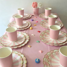 Pink Stripe Disposable Tableware Sets Paper Plates Cups Baby Shark Birthday Decorations Favor Drinking Wedding Party Supplies