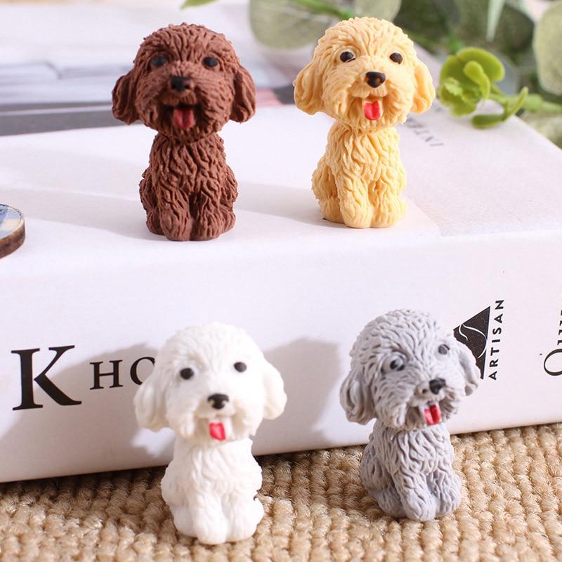 Kawaii Dog Pencil Eraser Cute Cartoon Teddy Rubber Eraser For Kids Girls Gifts Novelty School Stationery Correction Supplies