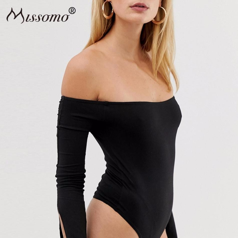Missomo Plus Size Women Sexy Modis Simple Word Shoulder Sexy Cuffs Open Solid Color Long Sleeves Tight Bodysuit