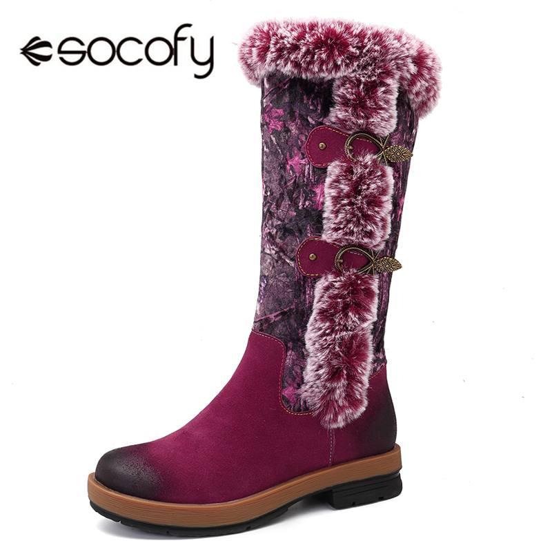 Botas de nieve de invierno Socofy zapatos de mujer de cuero genuino Vintage con forro de piel de felpa botas de media pantorrilla zapatos de mujer con cremallera mujer Botas nuevo-in Botas de nieve from zapatos    1