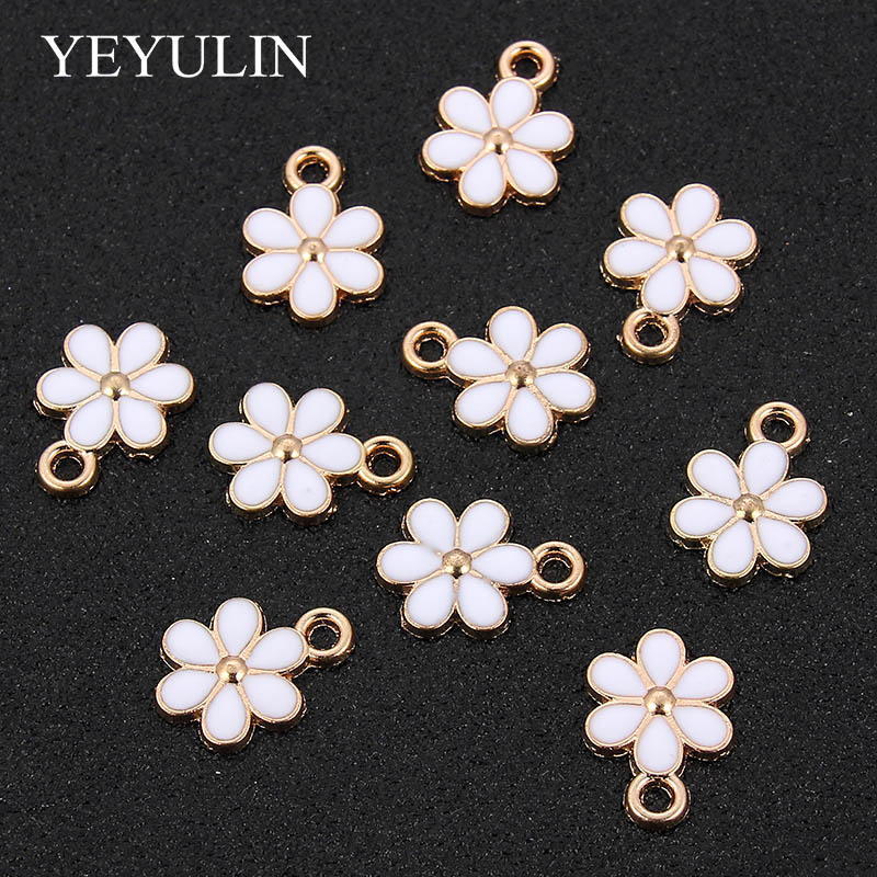 YEYULIN 10PCs Gold Tone Enamel White Flower Charms Pendant