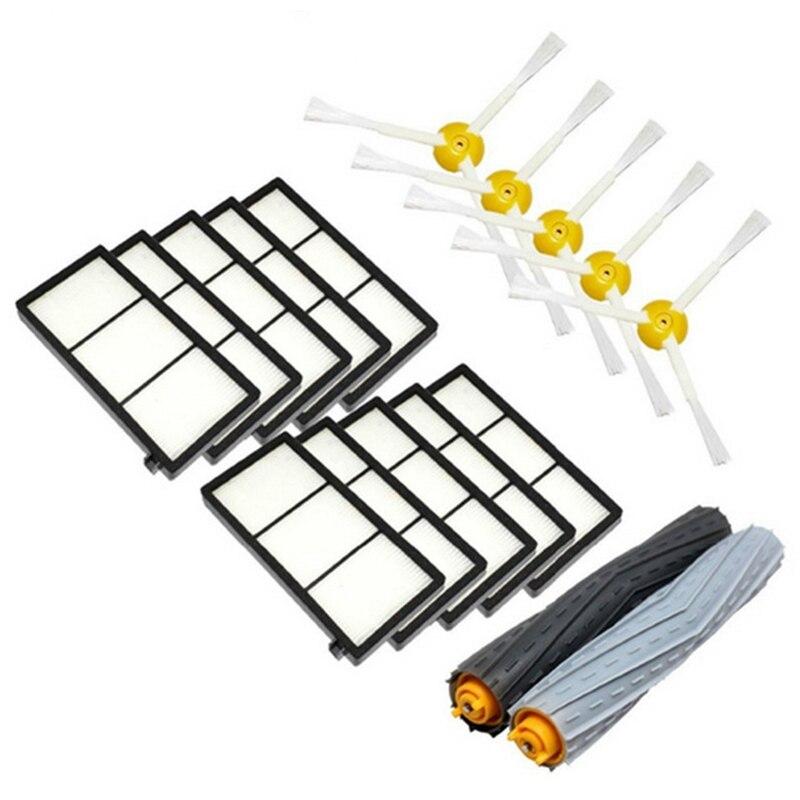 1 компл. Tangle-Free Щетка для удаления мусора + 10 Hepa фильтр + 5 боковая щетка для Roomba 800 900 серия 870 880 980