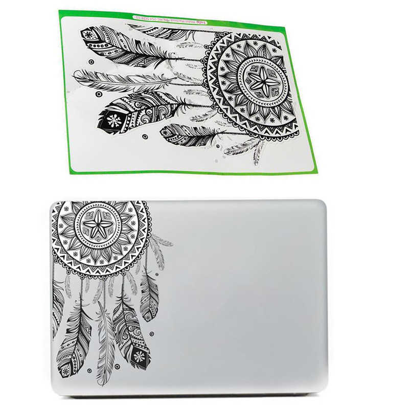 Retro Laptop Aufkleber Feather Art Muster Vinyl Aufkleber Schwarz Laptop Aufkleber Für Macbook Air Laptop
