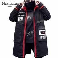 Max LuLu Korean Style Ladies Hooded Jeans Overcoat Women Warm Denim Trench Coat Fur Roupas Long Windbreaker Woman Winter Clothes