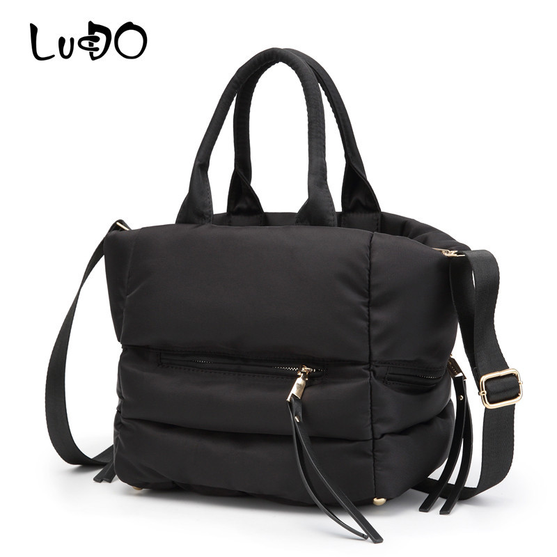LUCDO Winter Space Bale Handbag Woman Cotton Totes Bag Down Feather Padded Ladies Feather Soft Women Shoulder Bag Bolsos Mujer