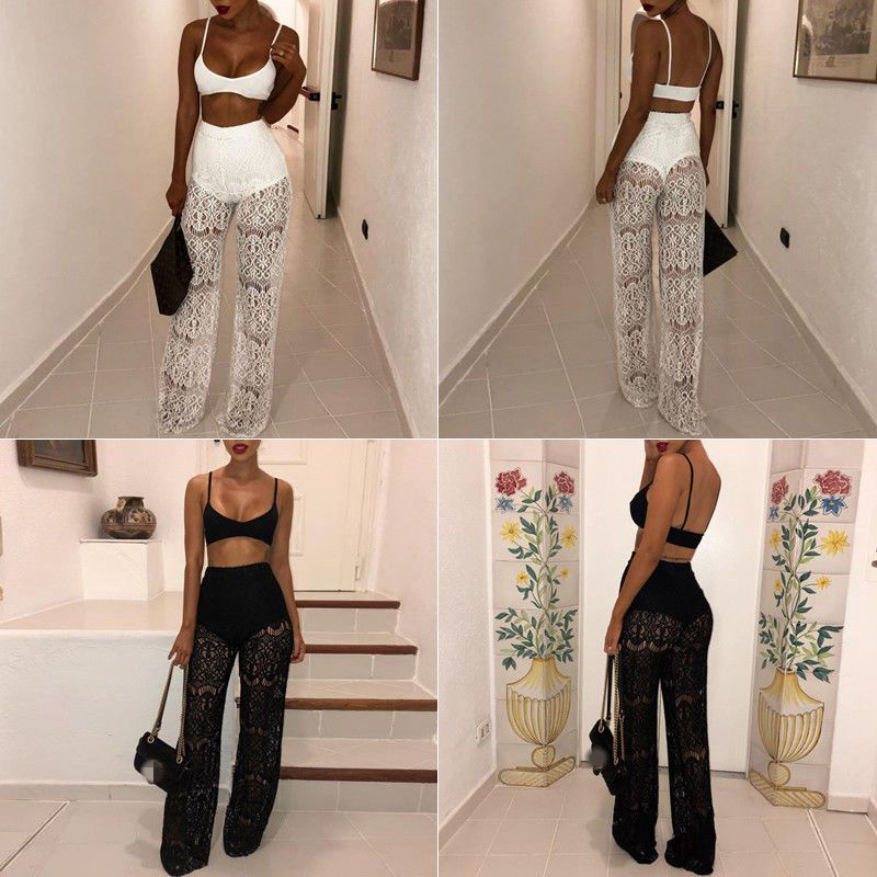 Women Wide Leg Lace High Waist Sheer   Pants   Summer See Through Patchwork Long Trousers