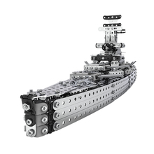 Cruiser Stainless Steel Assembled Model Building Block Brick Army Military Ship Battle War Navy Vessel Boat Toy