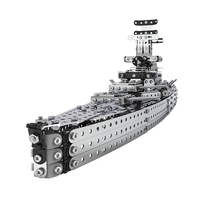 Cruiser Stainless Steel Assembled Model Building Block Brick Army Military Ship Model Battle War Ship Navy Vessel Boat Toy