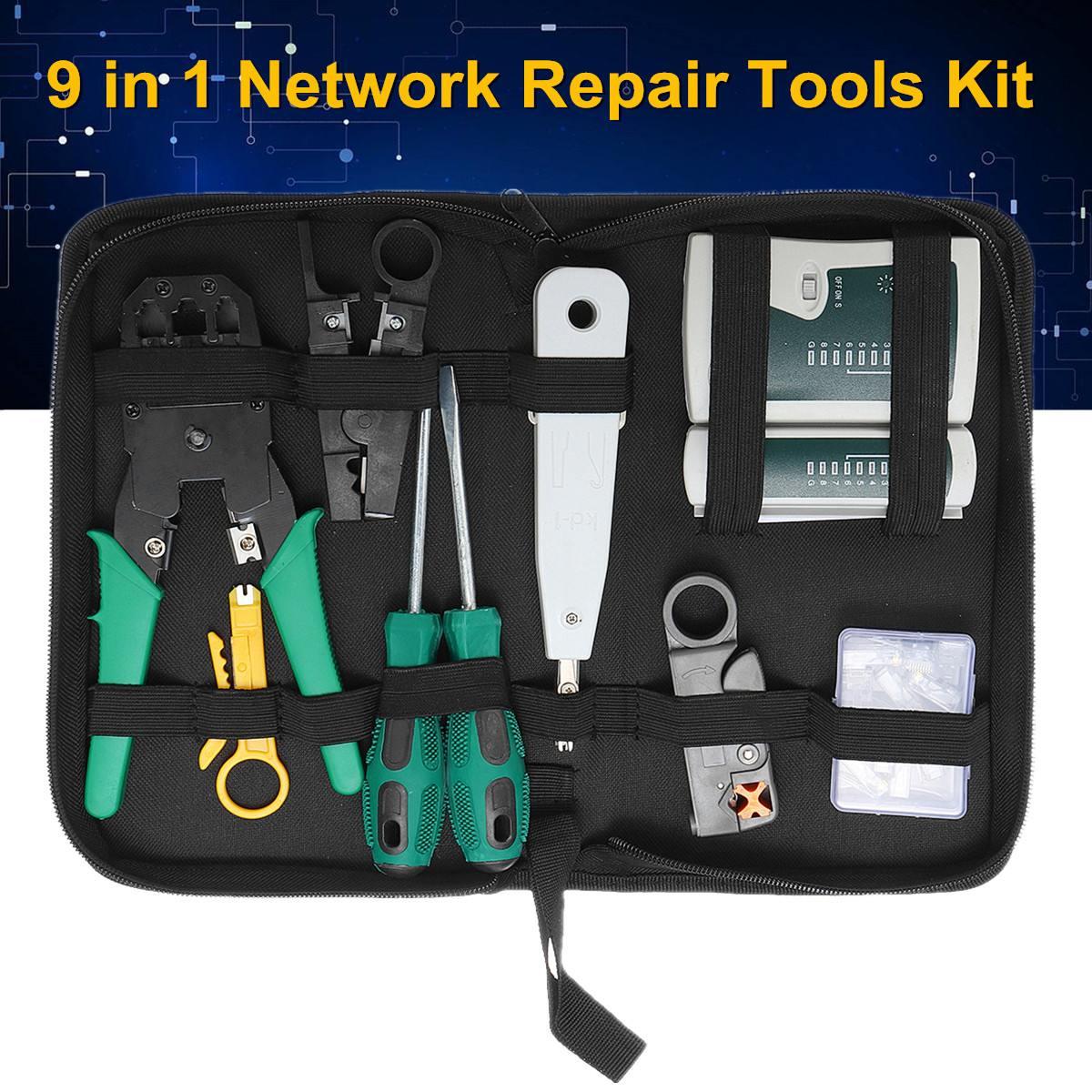 D'outils à main Kit De Réparation 9 PC LAN Réseau pince serre-fil Câble Testeur Cat5 RJ45 RJ11 RJ12 Décapage Câble Faire connecteur ethernet Test