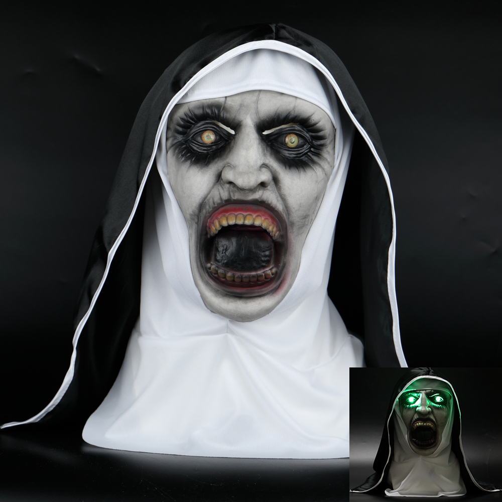 2018 The Nun Horror Mask With Led Light The Conjuring Valak Cosplay Masks Horror Scary Halloween Party Props