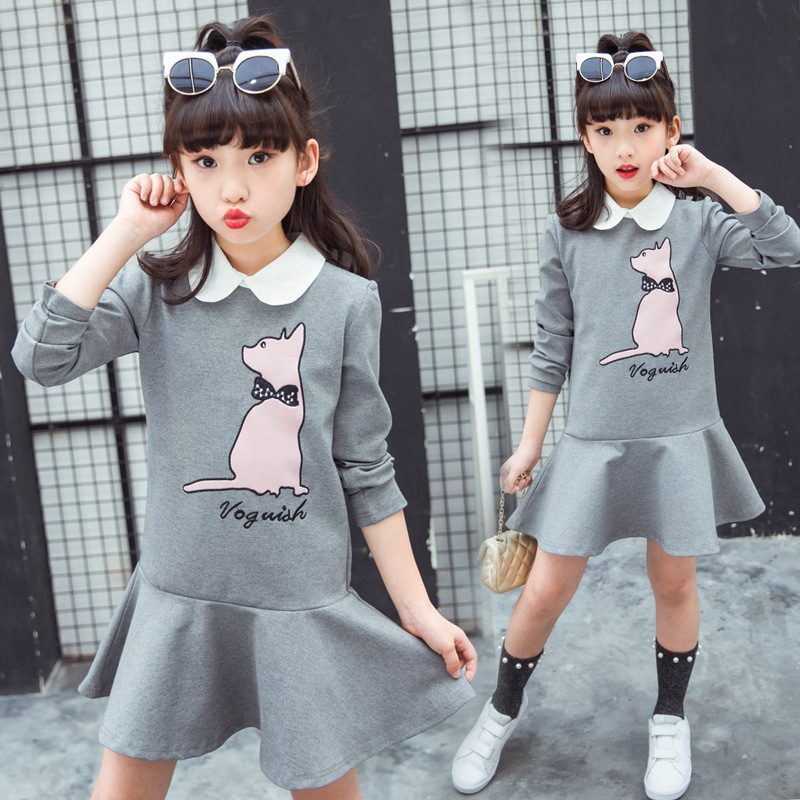 Girls cartoon Dress 2019 spring autumn dress little girl print Clothing kids dresses size for girls 3 4 5 6 7 8 9 10 11 13 years spring outfits for kids