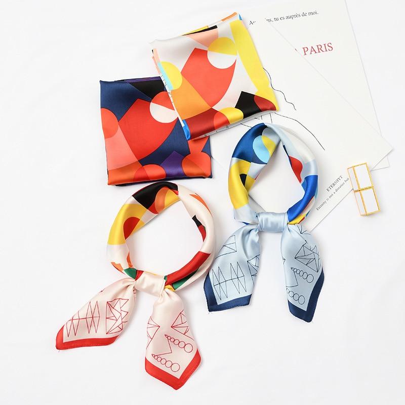2019 New Arrival Women Silk   Scarf   Geometry Printing Lady Rayon Kerchief Shawls   Wraps   60*60cm Gifts Printing Flower