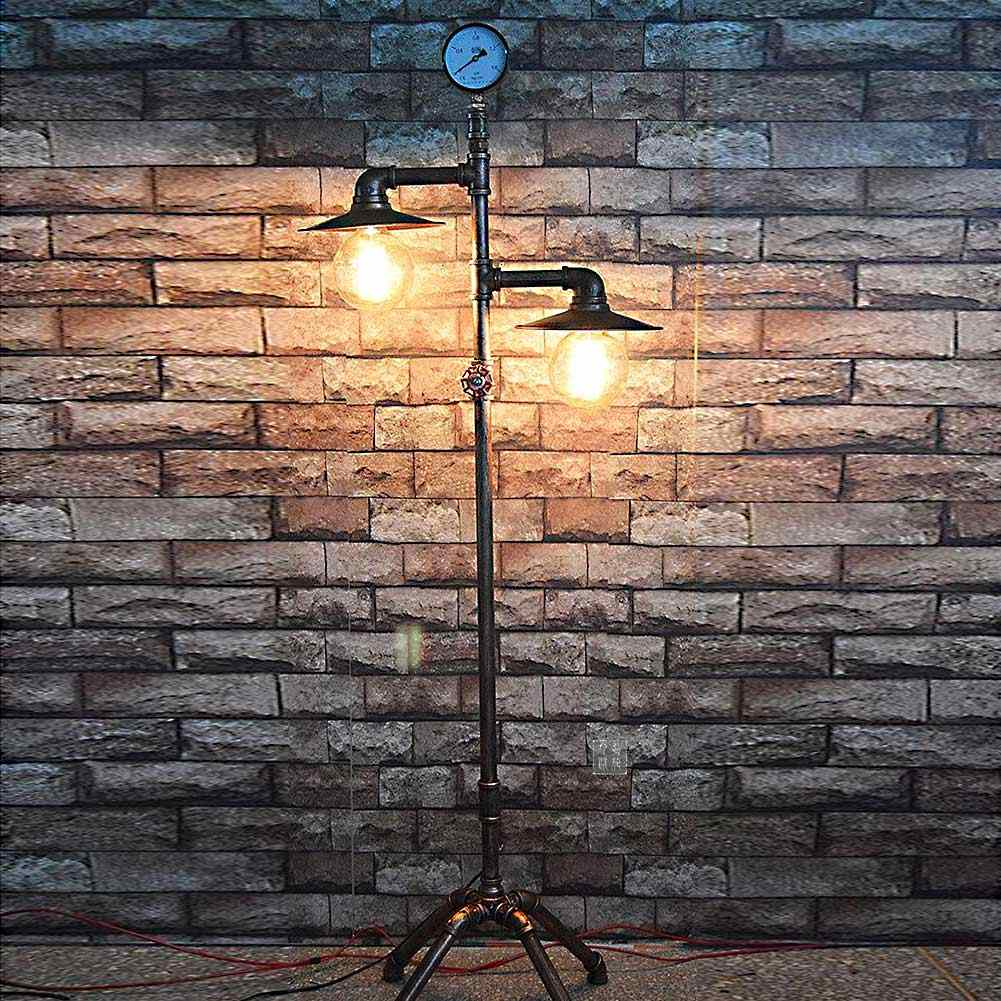 Creative Loft Standing Lamp Lights American Country Vintage Water Pipe Industrial Floor Lamp For Bedroom Living Room Bar E27