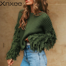 Xnxee Tassel knitted sweater women pullover loose Casual army green winter sweater female O neck 2019 autumn jumper pull femme xnxee tassel knitted sweater women pullover loose casual army green winter sweater female o neck 2019 autumn jumper pull femme
