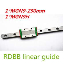 Free shipping 9mm Linear Guide MGN9 250mm linear rail way + MGN9C or MGN9H Long linear carriage for CNC X Y Z Axis