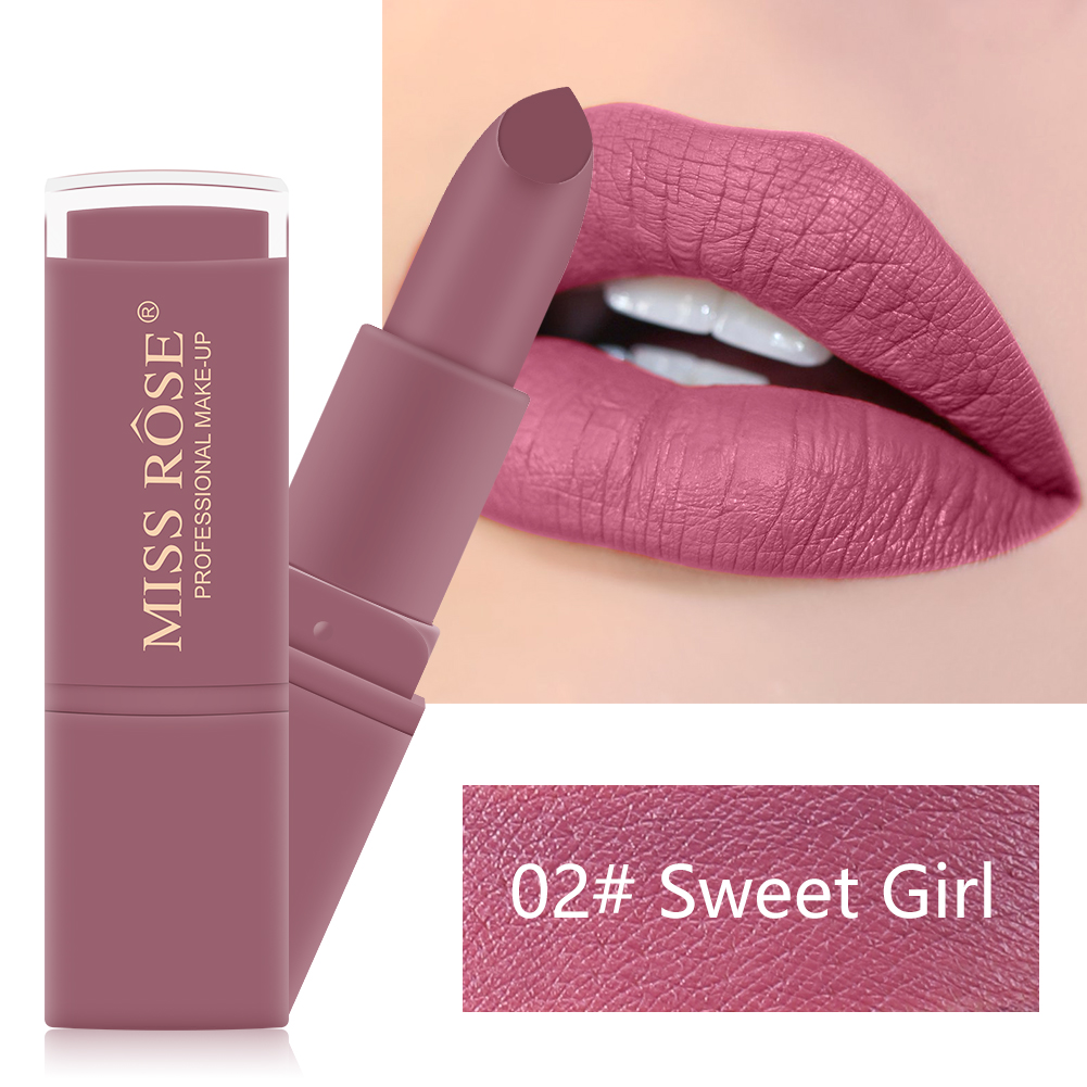 MISS ROSE 12 Colors Matte Lipstick makeup Long Lasting Waterproof lip gloss Gifts for Women Beauty Cosmetic maquillaje TSLM1