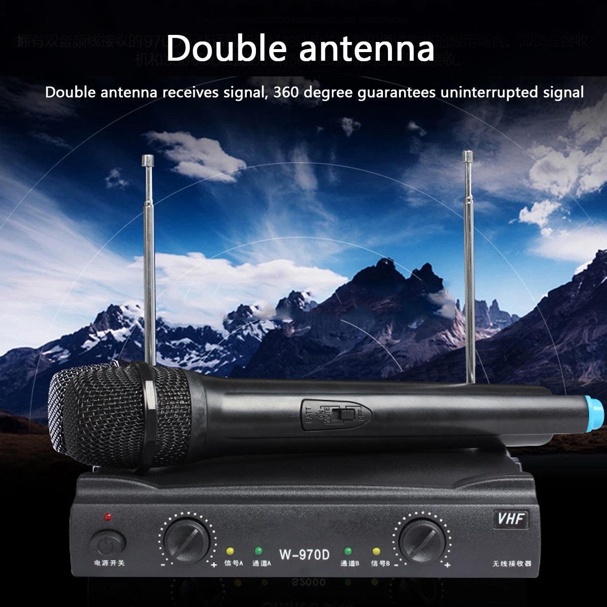 Professional Karaoke Radio Wireless Handheld VHF Transmitter Microphone Set with 2 Mic 1 Receiver for KTV Speech Performances