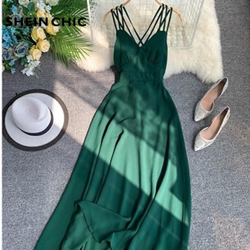 2019 Summer Solid Green Spaghetti Strap Dress Vintage V-Neck Sleeveless Party Maxi Dress Elegant Vocation Beach Vestidos