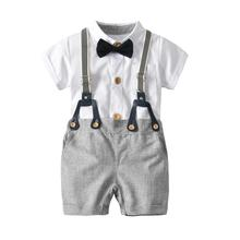 VTOM Summer Baby Boys Sets Short Sleeve Rompers Tops+Suspenders Pants 2PCS Infant Kids Formal Clothes XN70