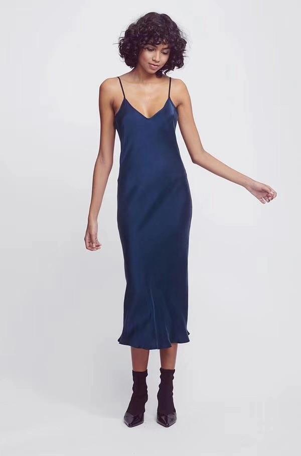 Heavy Silk Suspender dress 2019 Early Spring Style Oblique Cut Silk Heavy Sand Washing Process Women
