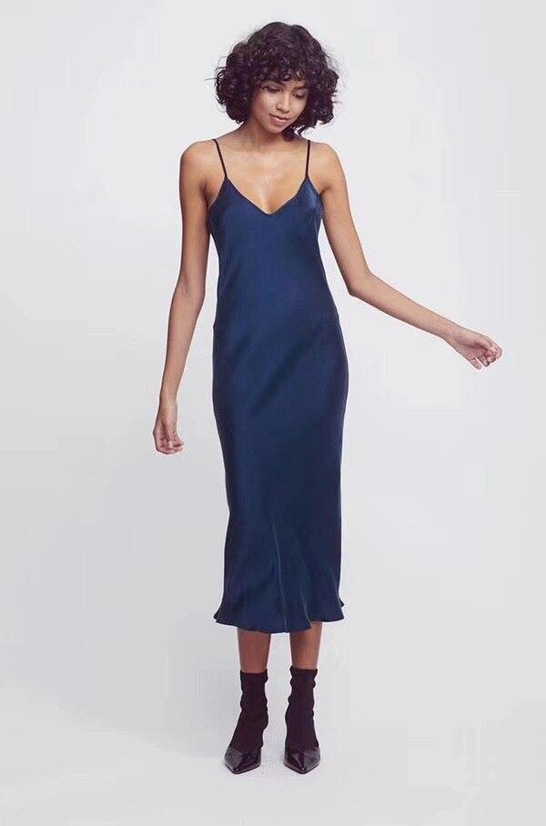 Kadın Giyim'ten Elbiseler'de Ağır Ipek Askı elbise 2019 Erken Bahar Tarzı Eğik Kesim Ipek Ağır Kum Yıkama Işlemi Kadınlar midi Elbise'da  Grup 1