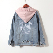 Detachable hooded denim jacket women letter embroidery Tearing Hole jean coat female boyfriend denim jackets hooded wing embroidery distressed denim jacket