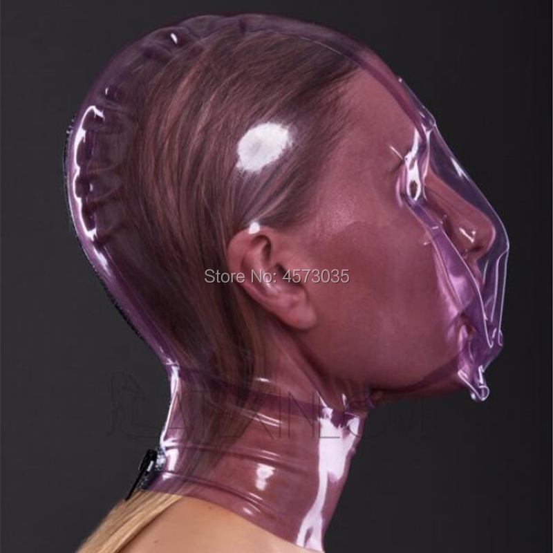 Image 2 - sexy handmade women female unisex exotic transparent purple latex inflatable full breath hole hoods mask cekc lingerie uniform-in Teddies & Bodysuits from Novelty & Special Use