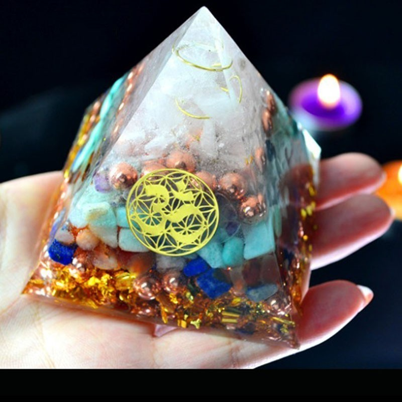 AURA REIKI Orgonite Pyramid Aura Crystal Sahasrara Chakra Zadkiel Amazonite Lapis Improve Memory Resin Decorative Craft Jewelry