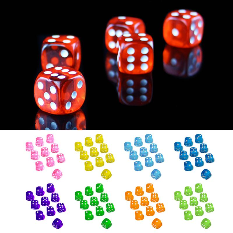 10pcs 16/14mm Clear Colorful Dice Transparent Dices For Board Game Bar Gambling Playing Game Club Party Accessories