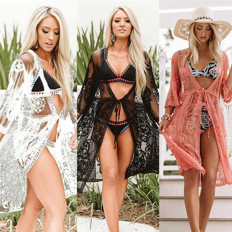 b4e7eece3b Women Sexy Lace Bikini Cover Up Elegant Mesh Transparent Beach Dress  Transparent tunic kaftan Beach Cover
