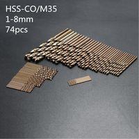74pcs/Set 1MM 8MM Twist Drill Hole M35 Cobalt High Speed Steel Tool Set Whole Ground Metal Reamer Tools Plastic Box