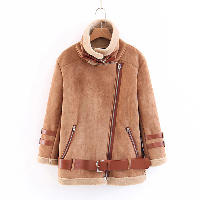 new winter hot fur inside jacket with belt zipper top coat women motocycle style