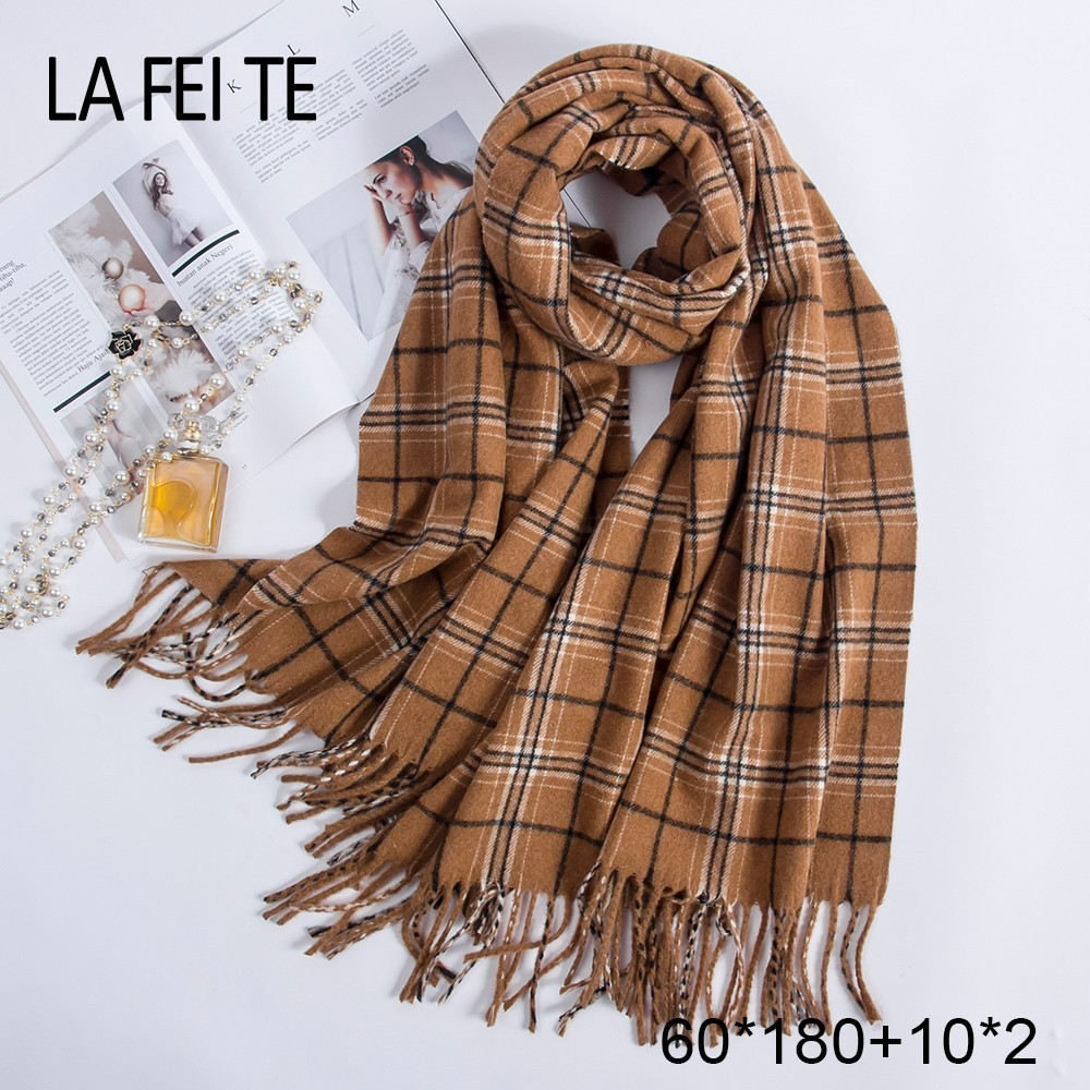 Pure 100% Wool Scarf Women Foulard Neck Handkerchiefs Echarpe Homme Cashmere Shawls Blanket Stoles Women Scarves For Ladies 2019-in Women's Scarves from Apparel Accessories