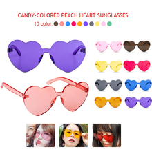Fashion Retro Love Heart Rimless Sunglasses Women Luxury Brand Designer Sun glasses Eyewear Candy Color UV400